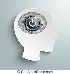 głowa, dostarczcie energii elektrycznej guzik, mózg, papier, biały