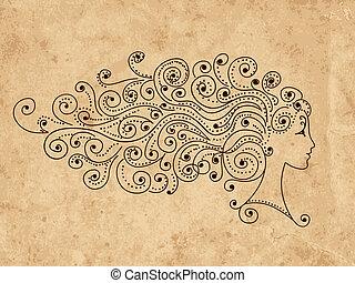 głowa, fryzura, abstrakcyjny zamiar, samica, twój