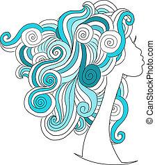 głowa, fryzura, falisty, projektować, samica, twój
