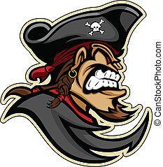 głowa, graficzny, kozia bródka, wizerunek, kapelusz, wektor, pirat, pirat, broda, raider, albo, maskotka