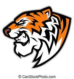 głowa, ilustracja, tiger, wektor, ryk, maskotka