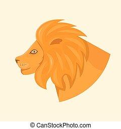 głowa, ilustracja, wektor, lwy, widok budynku