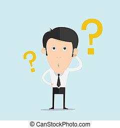 głowa, jego, handlowy, pytanie, niezdecydowanie, marka, zadraśnięcia, człowiek