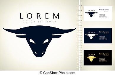 głowa, logo, byk, wektor, projektować
