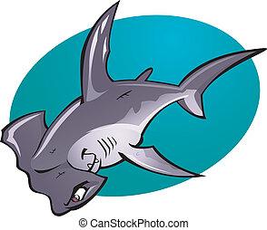 głowa, młot, rysunek, rekin