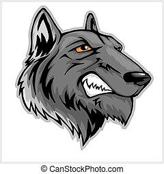 głowa, maskotka, wilk, odizolowany, white.