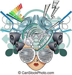głowa, media, ilustracja, abstrakcyjny