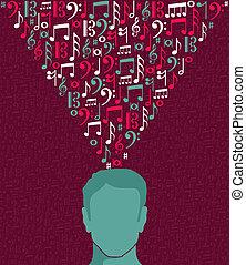 głowa, notatki, ilustracja, muzyka, ludzki, człowiek