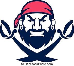 głowa, pirat, maskotka