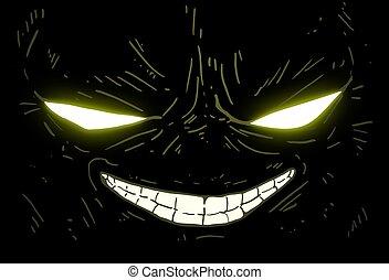 głowa, potwór, zielony