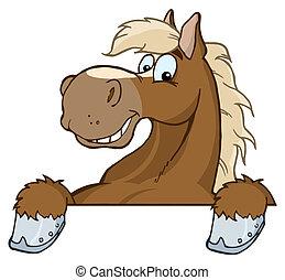głowa, rysunek, maskotka, koń