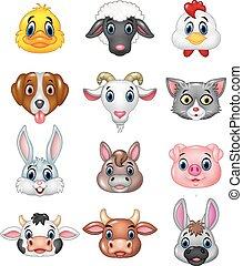 głowa, rysunek, szczęśliwy, zwierzę