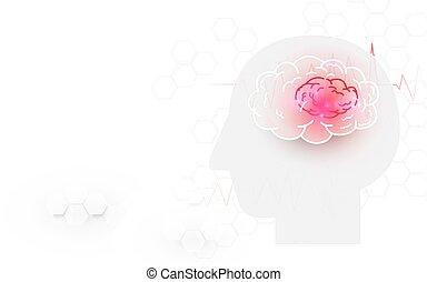 głowa, tło, mózg, uderzenie, ludzki, biały