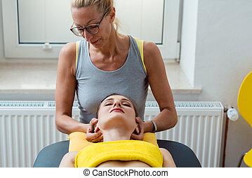 głowa, terapia, szyja, fizyczny, masaż