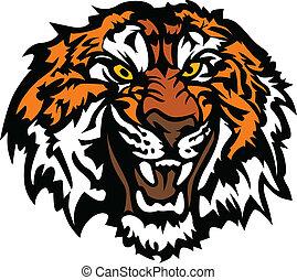 głowa, warkliwy, tiger, maskotka, graficzny