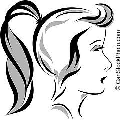 głowa, wektor, dziewczyna, ilustracja, kucyk
