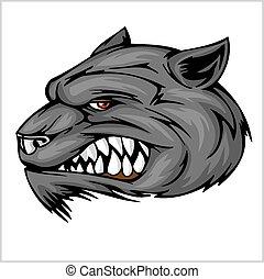 głowa, wilk, ilustracja, maskotka