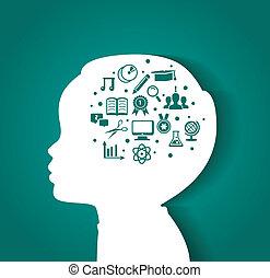 głowa, wykształcenie, dziecko, ikony