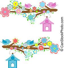 gałęzie, posiedzenie, pary, bilety, birdhouses, ptaszki
