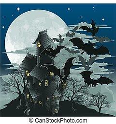gacki, dom, nawiedzany, ilustracja