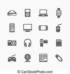 gadżety, komplet, urządzenia, ikony
