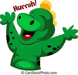gadka, potwór, rzeźnik, ilustracja, wektor, zielone tło, biały, hurra!, radosny