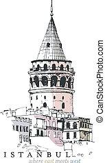 galata wieża, rysunek