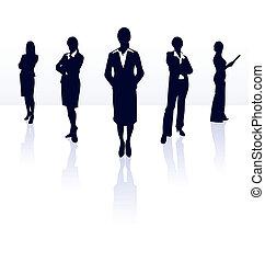 gallery., kobieta interesu, sylwetka, team., wektor, mój, więcej