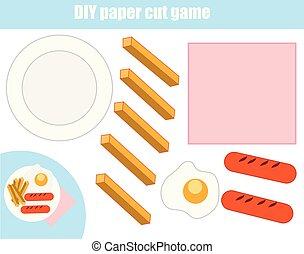 game., płyta, ustalać, cięcie, cięty papier, jadło, ciasto, worksheet., oświatowy, diy, glue., dzieci, activity.