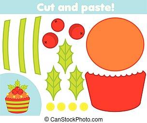 game., ustalać, cupcake, papier, cięty, nowy, oświatowy, boże narodzenie, klej, nożyce, dzieci, twórczy, rok, activity.