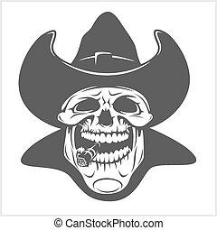 gangster, -, kapelusz, czaszka, kowboj