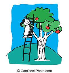 garden., dziewczyna, wektor, drzewo
