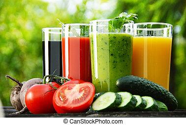 garden., soki, dieta, roślina, świeży, detox, okulary