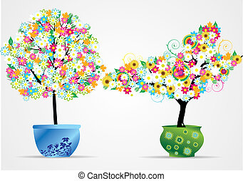garnek, drzewa, illustra, wektor, kwiat
