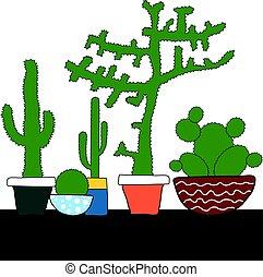 garnek, komplet, kaktus, barwny