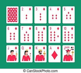 garnitur brylancika, karty do gry
