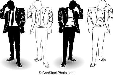 garnitur, człowiek, sylwetka, czarnoskóry, biały