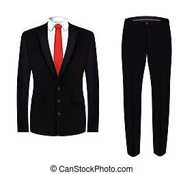 garnitur, czarna koszula, czerwony węzeł, biały