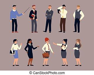 garnitur, handlowe kobiety, ludzie, grupa, drużyna, ubrany, mężczyźni