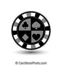 garnitur klubu, vector., tło., drzazgi, diament, odizolowany, ikona, pogrzebacz, szary, łopata, projektować, 10, serce, tłoczyć, prints..., ilustracja, eps, korzystać, websites, biały