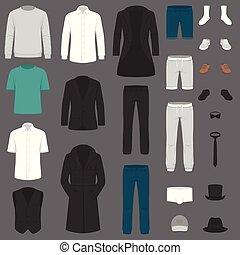 garnitur, komplet, kalesony, koszula, fashion., clothes., marynarka, wektor, człowiek