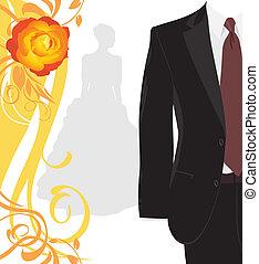 garnitur, męski, ślub