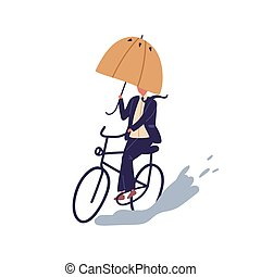 garnitur, odizolowany, tło., płaski, kałuża, dzień, parasol, rysunek, droga, biały, wektor, rower, jesień, samiec, bicycling, pokonywanie, człowiek, jazda, biznesmen, pod, kolarstwo, deszczowy, illustration., obstacles.