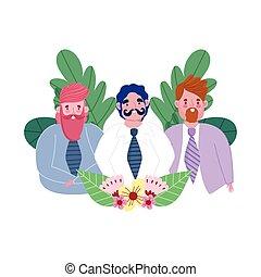 garnitur, ojcowie, celebrowanie, kwiaty, szczęśliwy, tatusiowie, dzień, grupa