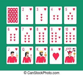 garnitur serca, karty do gry