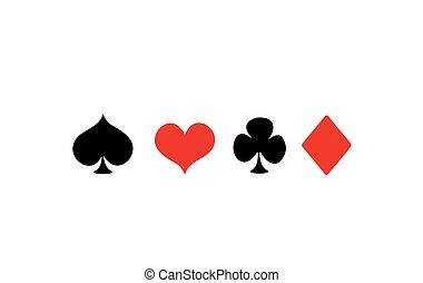 garnitur, wektor, grając kartę, ikony