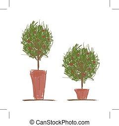 garnki, projektować, drzewo, zielony, twój