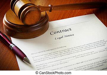 gavel, kontrakt, handlowy, prawny