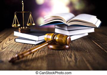 gavel, książki, prawo, drewniany