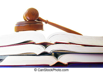 gavel, książki, stóg, prawny, prawo